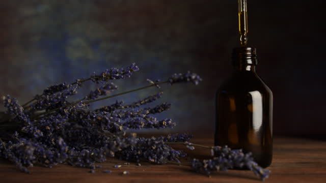 Natural lavender flower oil.  Handmade cosmetics.