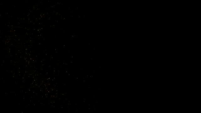 天然有機塵埃顆粒漂浮在黑色背景上。閃閃發光的閃光粒子隨機旋轉在空中與散景。具有慢動作的白色動態粒子。粒子在太空中閃閃發光 - gold texture 個影片檔及 b 捲影像
