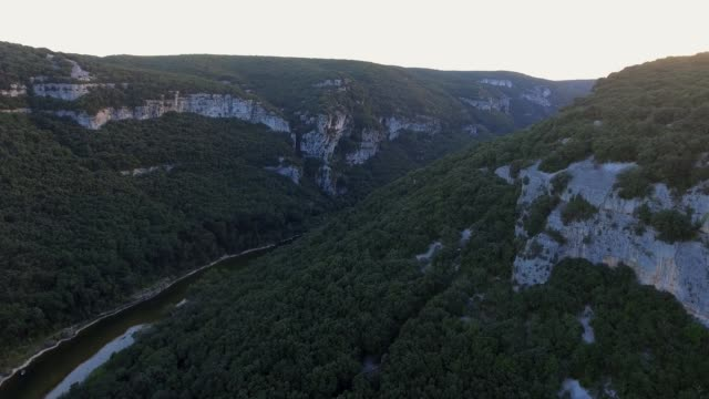 natural reserve of the ardèche gorges drone video france - центральная европа стоковые видео и кадры b-roll