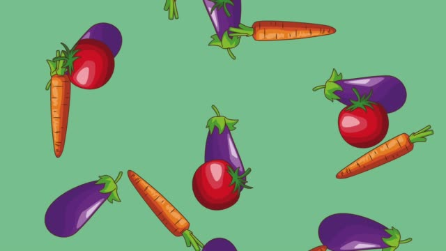 Natural vegetables food HD animation Eggplant tomatos and carrot falling over blue background high definition animation colorful scenes the four elements stock videos & royalty-free footage