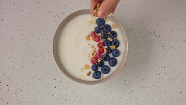 Natural yogurt with fresh blueberries and red currant