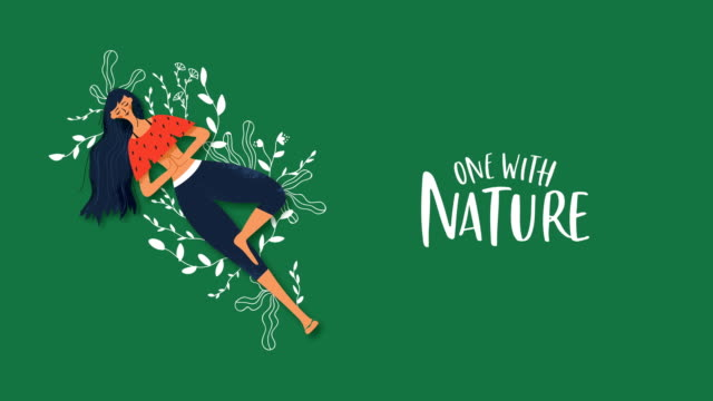 Nature connection animation of green plant woman Nature connection cartoon animation concept of happy young woman with green plant hand drawn doodles and eco friendly text quote. 4k environment care footage. earth day stock videos & royalty-free footage
