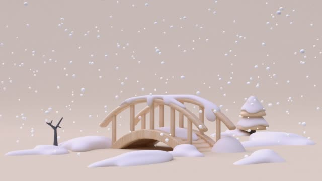 nature landscape bridge cartoon wood cream white snowing winter season new year christmas concept 3d rendering