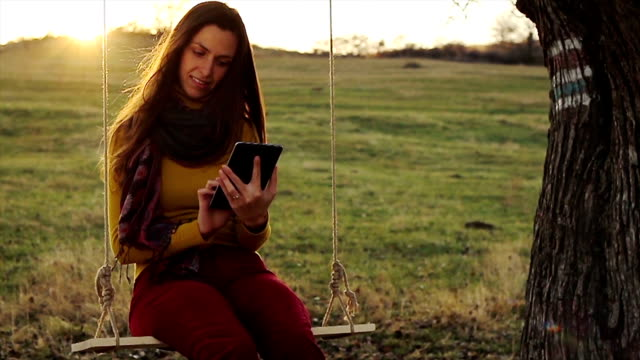 Nature Technology  Woman Tablet Outdoors Wireless video