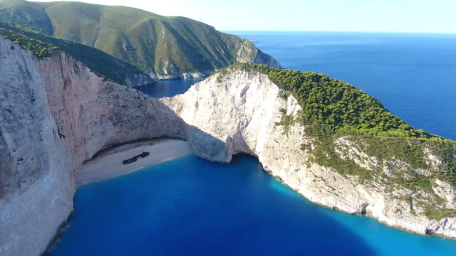 Navagio Beach, Zakynthos island, Greece Famous Navagio Bay with shipwreck, Zakynthos island, Greece greek islands stock videos & royalty-free footage