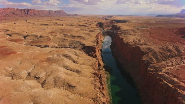 AERIAL Navajo Bridge over Colorado river