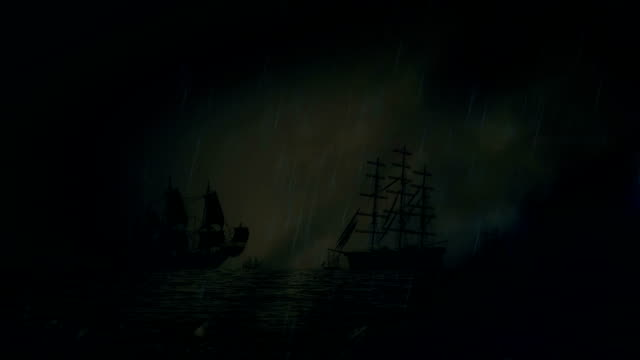 Naval Sea Battle Between Two Fleet of Sailing Ships Under a Lightning Storm and Rain video