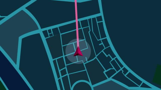 Video Navigation city map  GPS Navigation, Localization night Animation.