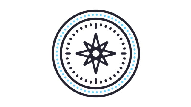 Navigation Icon Animation Thin line animation of navigation icon on white background. navigational compass stock videos & royalty-free footage