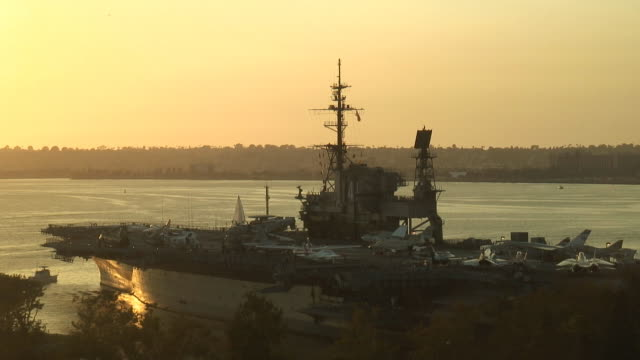 (HD1080i) Navy Aircraft Carrier Deck at Sunset video