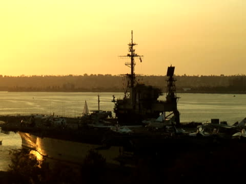 Navy Aircraft Carrier Deck at Sunset video