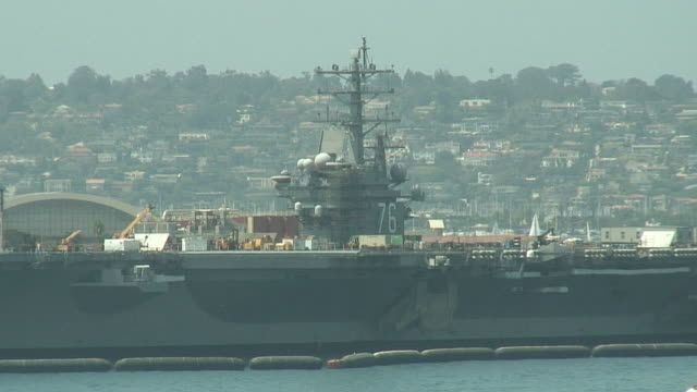 (HD1080i) Navy Aircraft Carrier Docked in San Diego video
