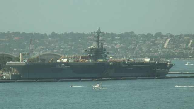 (HD1080i) Navy Aircraft Carrier Moored in San Diego video