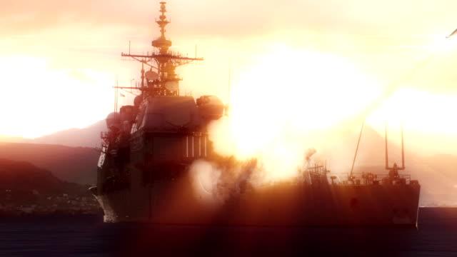 Navy vessel firing off a long range missile. video