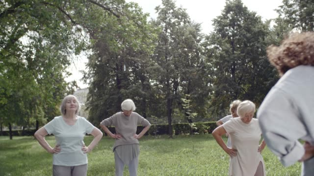Neck Warming Up Group of six elderly people and their trainer doing neck warming up exercises and moving their heads up and down during workout in park arms akimbo stock videos & royalty-free footage