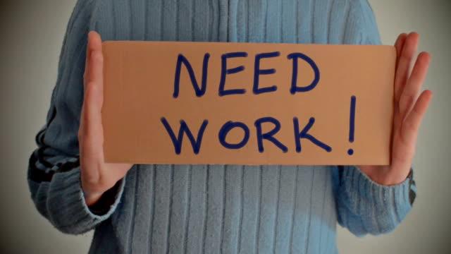 Need Work message on cardboard video