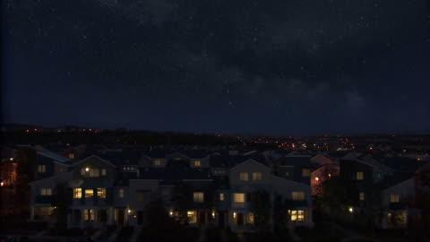 vídeos y material grabado en eventos de stock de tiro de los alrededores de noche con estrellas. - comunidad