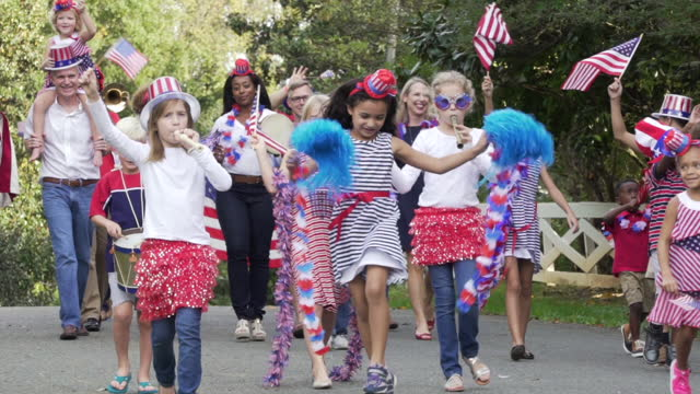 Neighborhood July Fourth Parade  july 4th stock videos & royalty-free footage