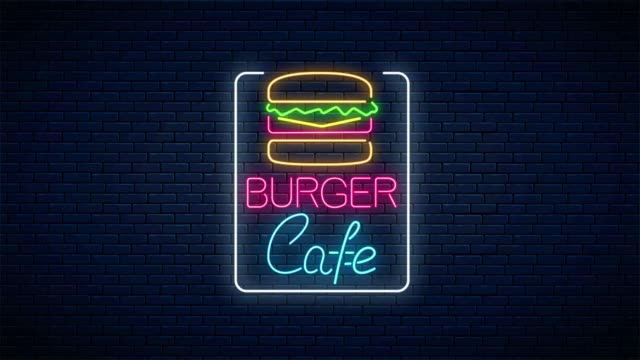 Neon animated burger cafe glowing signboard on brick wall background. Glowing fastfood light billboard sign animation.