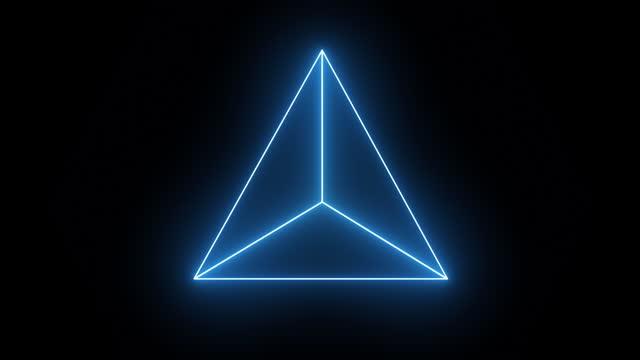 forme animate al neon: triangolo, cubo, esagono. - armonia video stock e b–roll