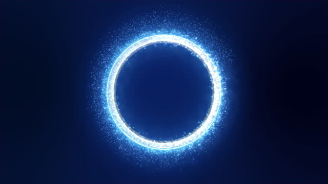 Neon Blue Light with Sparkle and Smoke Trail Creates a Round Metallic Three-dimensional Ring. Dark Blue Background. video