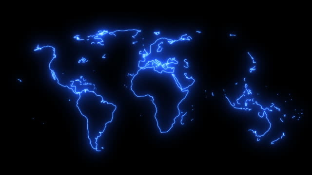 Neon blue map of the world with animation in and out 3D Atlas of the world with country borders in Neon lights and continents showing different colours. Modern digital map concept with depth of field uk border stock videos & royalty-free footage