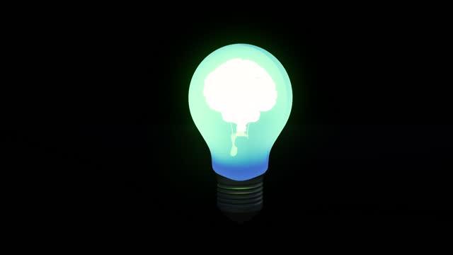Neon brain in light bulb Energy electricity innovation concept 4k