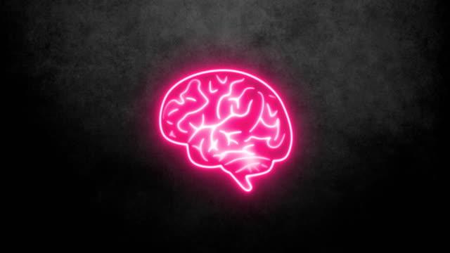 vídeos de stock, filmes e b-roll de cérebro de néon - logo