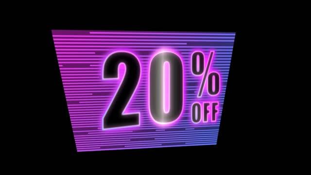 neon card 20 percent discount loop on black
