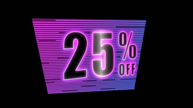 neon card 25 percent discount loop on black