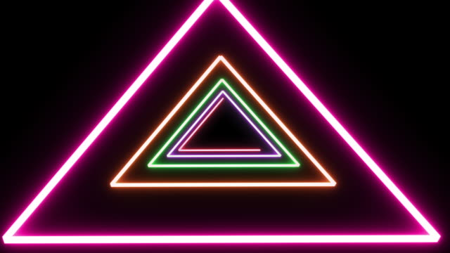 Neon colored triangle loop. Old School style video
