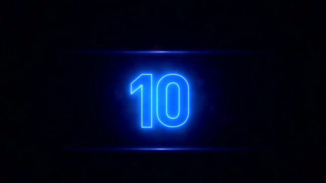 Neon Countdown Countdown, Number 10, Digital Display, Neon neon colored stock videos & royalty-free footage