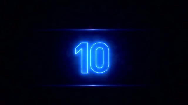 neon countdown - numero video stock e b–roll