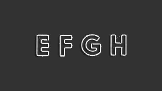 Neon E F G H symbols, electric font mock up Neon E F G H symbols, electric font mock up, FullHD video, looped switch, 3d rendering. Constantly agleam character, top view, sound effect. Helium lighting figure in darkness template. alphabet stock videos & royalty-free footage