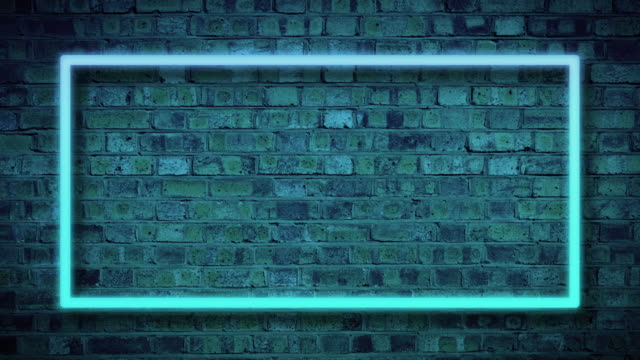 Neon frame flashing against a brick wall background, dark animation template
