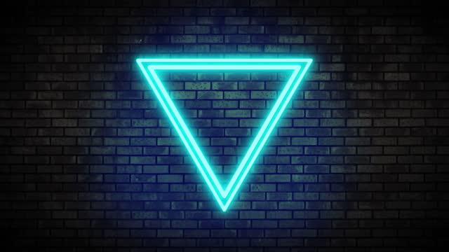 Neon Frame Light on Brick Wall. Night Club Bar Blinking Neon Sign. Motion Animation