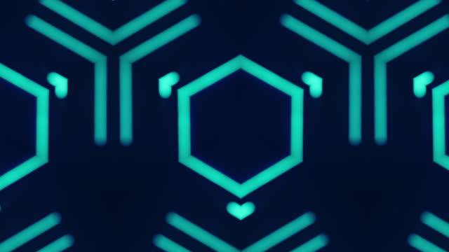 vídeos de stock, filmes e b-roll de neon animação futurista azul luz fluorescente - caleidoscópio padrão