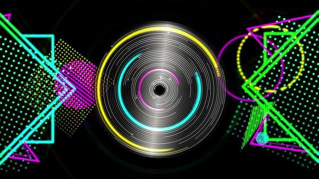 vidéos et rushes de formes géométriques au néon apparaissant et disparaissant - musique