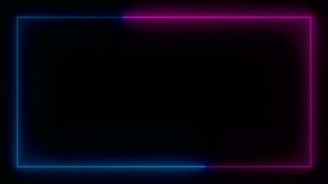 vídeos de stock, filmes e b-roll de quadro colorido de incandescência de néon. 4k movendo-se arte sem costura loop fundo tela de movimento abstrato - logo