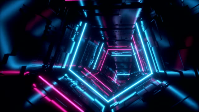 Neon Glowing Lights Sci Fi Futuristic Purple Blue Hi Tech Spaceship Alien Tunnel Corridor Loop Vibrant  Motion Fly Chip Detailed Endless Dark Empty Tube Retro Neon