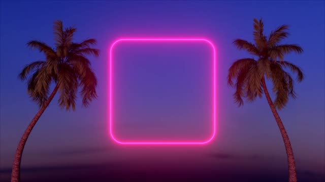 Neon glowing rectangle frame appears between two palm trees.