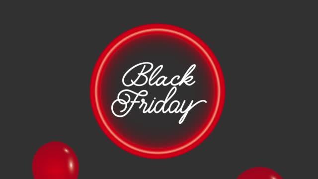 네온 빛 다시 금요일 빨간 풍선 검은 금요일 애니메이션 hd - black friday 스톡 비디오 및 b-롤 화면