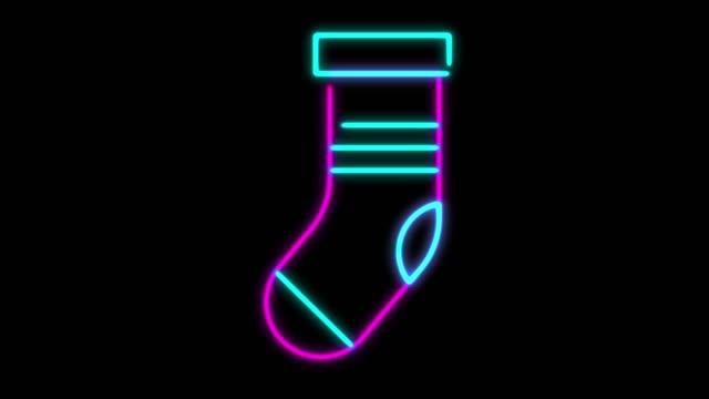 4k neonljus julstrumpor animation på svart bakgrund - strumpa bildbanksvideor och videomaterial från bakom kulisserna
