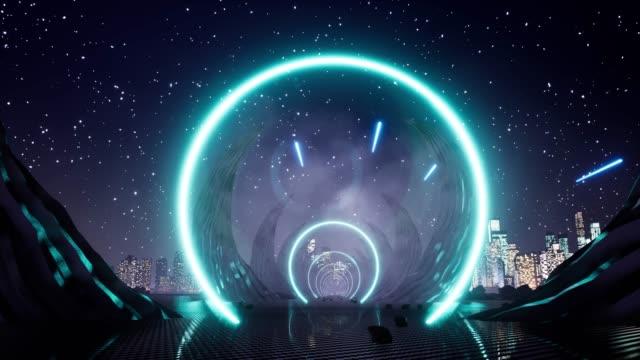 vídeos y material grabado en eventos de stock de luz de neón, escena de paisaje extraterrestre. luz de neón en estilo de arte lineal sobre fondo negro. bandera de luz retro del casino. fondo de líneas 3d. fondo futurista abstracto. ilustración de renderización 3d. 4k - misa