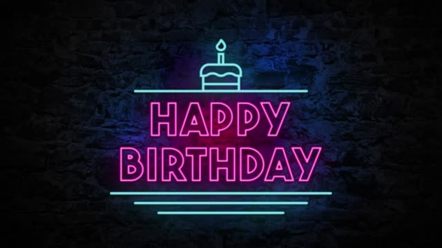 4K Neon light Happy Birthday animation on the brick wall The blinking 4K neon light Happy Birthday animation on the brick wall happy birthday stock videos & royalty-free footage