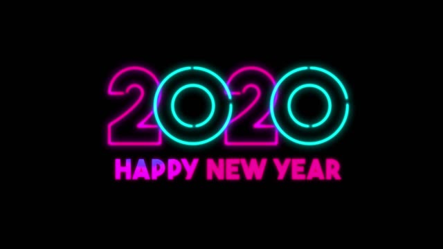 4K Neon Light Happy New Year Animation on Black Background 4K Blue and Pink Neon Light Happy New Year Animation on Black Background 2020 stock videos & royalty-free footage