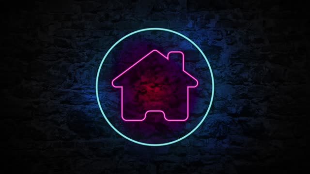 4K Neon light Home animation on the brick wall The blinking 4K neon light Home animation on the brick wall home icon stock videos & royalty-free footage
