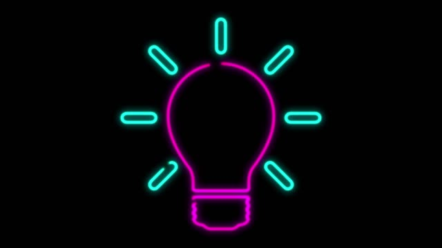 4K Neon Light Light Bulb Animation on Black Background