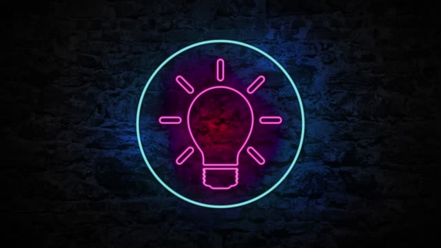 4K Neon light Light Bulb animation on the brick wall