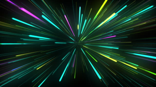 neon light lines animation background - emettere video stock e b–roll
